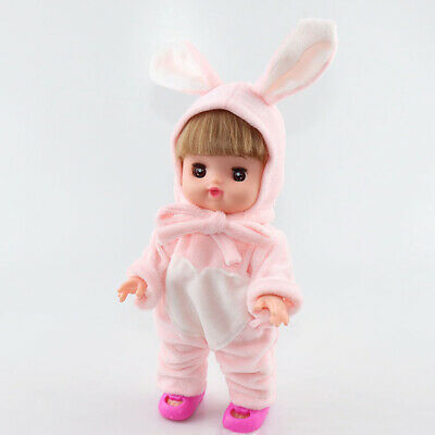 2pcs Jumpsuit with Rabbit Hat Clothes Set Pink for 25cm Mellchan Reborn Doll