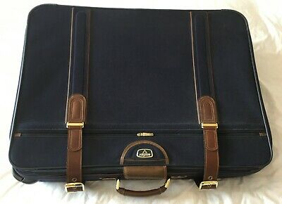 Extra Large Antler Suitcase Vintage Blue Cruise Luggage Leather Strap Travel Bag