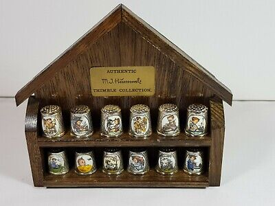 Set Of 12 Hummel Silver Plated 1St & 2Nd Edition Thimbles With Display Stand