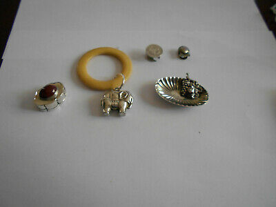 Solid silver job lot.Pill box,Baby rattle,etc
