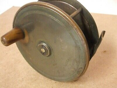 "Vintage very early MacLEAY INVERNESS Brass 4+3/4"""" reel   **Very Rare **"