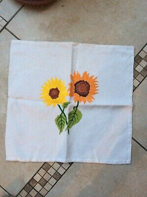 Vintage Hand Embroidered Cushion Cover Beautiful Raised Florals