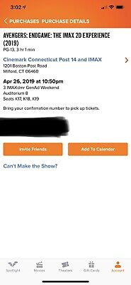 Avengers Endgame 3 Tickets. MILFORD CT IMAX 2D 4/26/2019 @ 10:50PM.