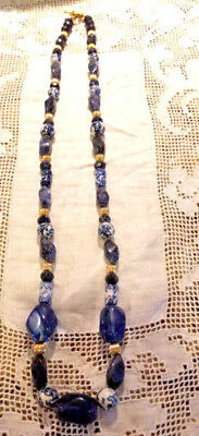 Vintage CHINESE BLUE AND WHITE PORCELAIN BEAD SAPPHIRES/AGATES NECKLACE