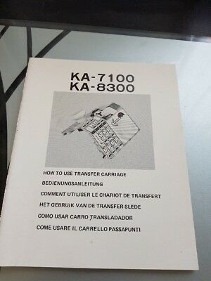 Instruction Manual for Knitting Machine Transfer Carriage - Model KA-7100/8300