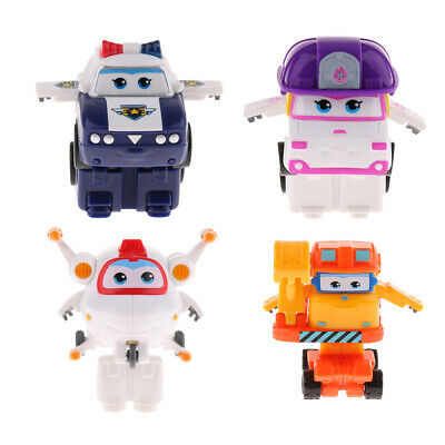 4pcs Transforming Robot Super Wings ZOEY KJM Astro Scoop Action Figures Toys