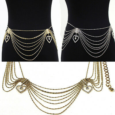 Women Fashion Long Wide Chain Metal Hip Waist Belt Gold Silver Heart Rhinestone