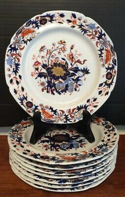 """Set Of 8 ANTIQUE SPODE """"BANG UP"""" 8"""" PLATES NEW STONE #3504, 1805-20 Excellent"""