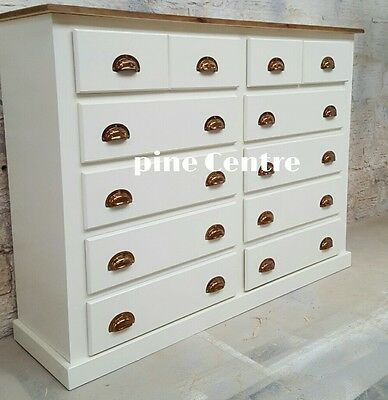 Handmade Ayelsbury Next (Ivory) (Cup Handles) 8+4 Long Chest Of Drawer