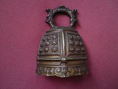 Vintage Chinese Republic Ming style Bronze Bell Dragon Ruyi
