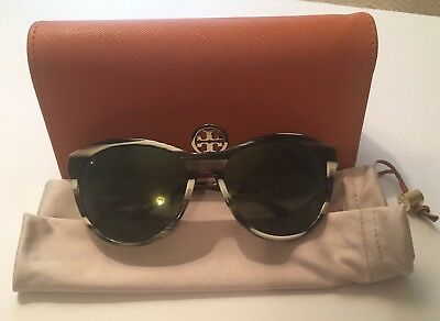 f1edbaeb0f7a Tory Burch Sunglasses Olive Horn Vintage Gold TY 7093 1553/6R with case New