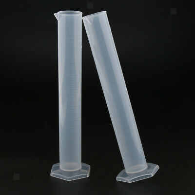250ml Plastic Measuring Cylinder Laboratory Supply, Pack of 2Pcs