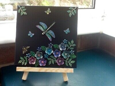 Dragonfly Mixed Media Art Canvas Made From recycled Jewellery. Ready to Hang.