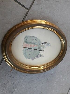 """Rare Early Victorian Antique Embroidery  Portrait """"Lady & Her Slave Boy. Framed."""