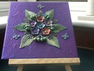 Mixed Media Floral & Butterflies Art Canvas Made from Recycled Costume Jewellery