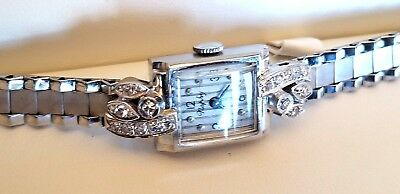 Swiss 14k Solid Gold, Diamond Lady's Art Deco 17j Wristwatch. Serviced. Ca.1950s