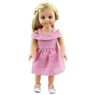 Handmade Clothes Plaid Princess Dress Pink for 18inch AG American Doll Dolls