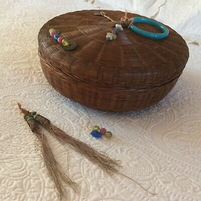 """VTG Asian Bamboo/Rattan SEWING BASKET Chinese Coins Glass Beads Ring 10-1/2"""""""