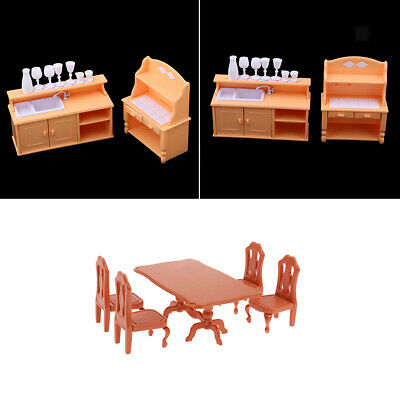 1/12 Miniature Dollhouse Dining Room Furniture Plastic Table Chair Cabinet