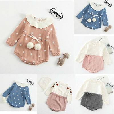 Infant Newborn Baby Girl Knit Winter Romper Bodysuit Crochet Clothes Outfit FO