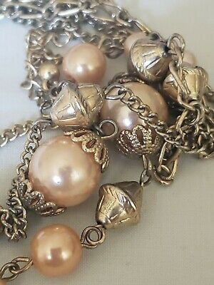 Vintage Ornate Gold Tone Filigree Capped Pearl Multi Strand Long Necklace