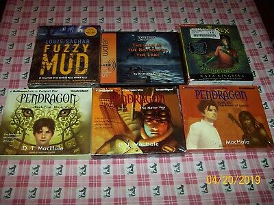 6 Children Young Adult Audio Cd Lot, Pendragon, Fuzzy Mud, Cabin Creek,&see Dvds