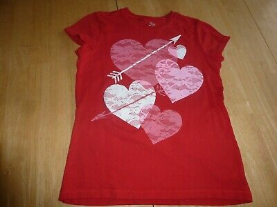 TCP GIRLS BE MINE GLITTER HEARTS RED T SHIRT TOP XL 14  VALENTINE/'S DAY