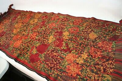 Vtg Mission Style Arts & Crafts Floral Needlepoint Fabric Art Tapestry Runner