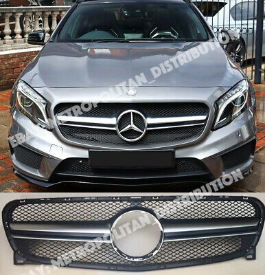 Mercedes X156 grille,AMG GLA45 look,black+one fin matte chrome,GLA200D 220 250
