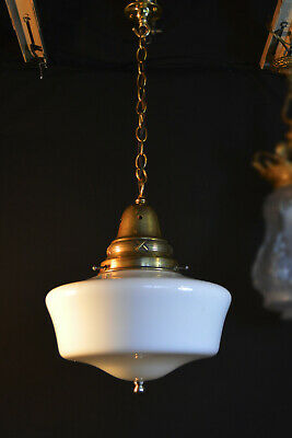 Vintage 1940s art deco antique school house light brass opaline glass lantern