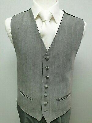 M57 Mens Silver Grey Mohair Wool Mix Wedding Evening Formal Suit Waistcoat