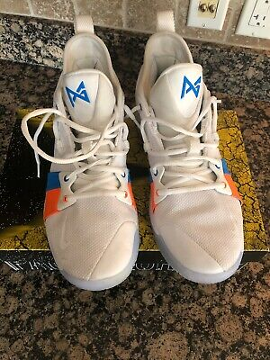 c5471692c005 NEW MEN NIKE PG 2 PAUL GEORGE BASKETBALL SHOES White Blue AJ2039-100 Size