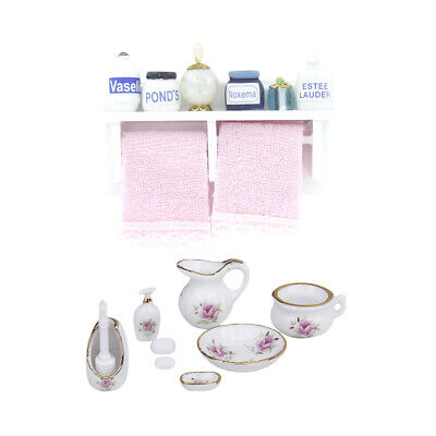 1/12 Miniature Bathroom Rack with Pink Towel & Porcelain Sets Doll Accessory
