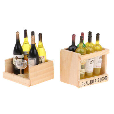 Miniature Wine Beer Bottle Goblet & Magnet Wood Box Toy For 1/12 Scale Decor