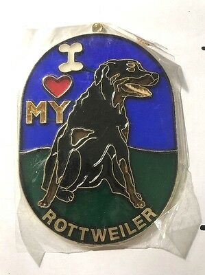 Vintage 1980s I heart My ROTTWEILER Suncatcher COOL Gotta Love It WOOF SC-18