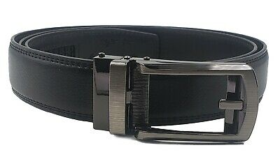 "AG Wallets Mens Leather Ratchet Belt Fits Waist Size Up to 48"" Automatic Buckle"