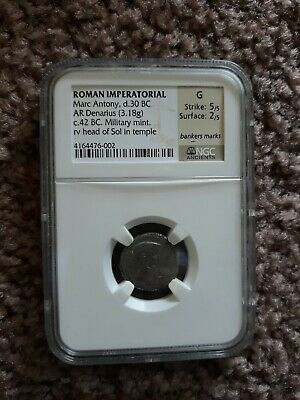 NGC G Marc Antony circa 42 BC AR Denarius silver Good LIFETIME ISSUE