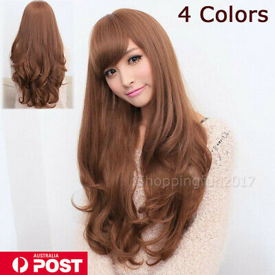 Long Wavy Curly Full Hair Wigs w Side Bangs Cosplay Costume Fancy Anime Women OZ