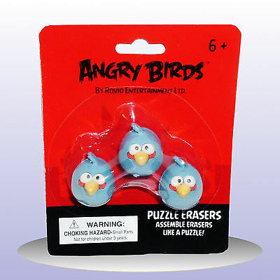Angry Birds Puzzle Erasers NEW Novelty Stationary Rubbers 3 X Blue Birds