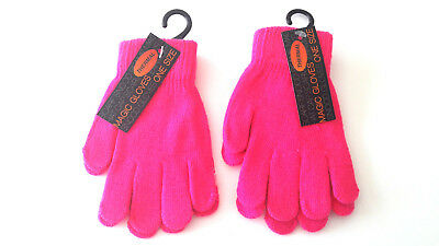 Kids Childrens Girls Boys Neon Pink  Stretchy Magic Warm Winter Thermal Gloves!!
