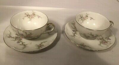 2 Cups & Saucers French China Theodore Haviland Limoges NY Rosalinde Roses