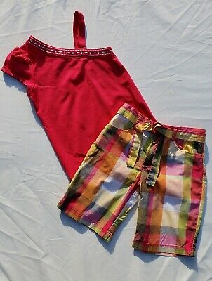 Girls Gymboree Batik Summer Shorts Shirt Size 7 6 Plaid Tank Rhinestone Set