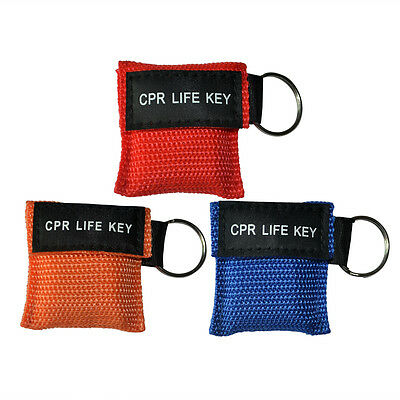 Lot/300pcs CPR Face Shield AED Training CPR Masks First Aid Disposable 3 Colors