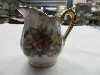 Small Antique Rose Pattern Porcelain Gold Accent Creamer  Discount Available