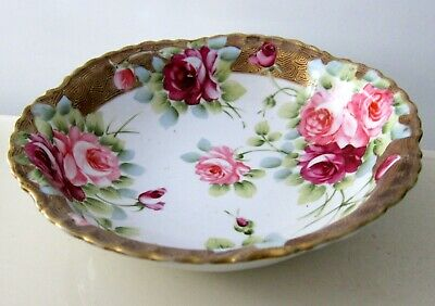 Antique Nippon Hand Painted Gold Gild Serving Bowl  Japan 8""