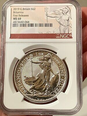 2019 Great Britain UK 2 Pound .999 Silver Britannia First Day Releases NGC MS69