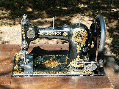 Jones Sewing Machine Pedal Powered 1930's with original foldout storage cabinet