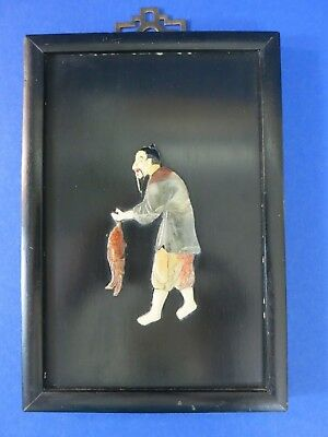 c.1950 Vintage Chinese ~ CARVED STONE FISHERMAN FIGURE ~ Numbered Wooden Plaque