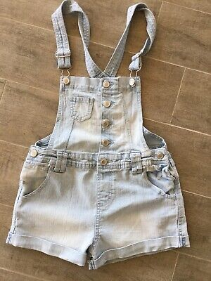 Kids Girls Dungaree Shorts Denim Jeans Jumpsuit Playsuit All In One Size 9