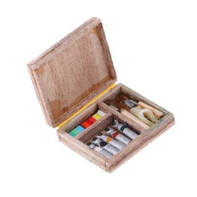 1/12 Dolls House Miniatures Mini Watercolor Brush Paint Tool Box Set Case